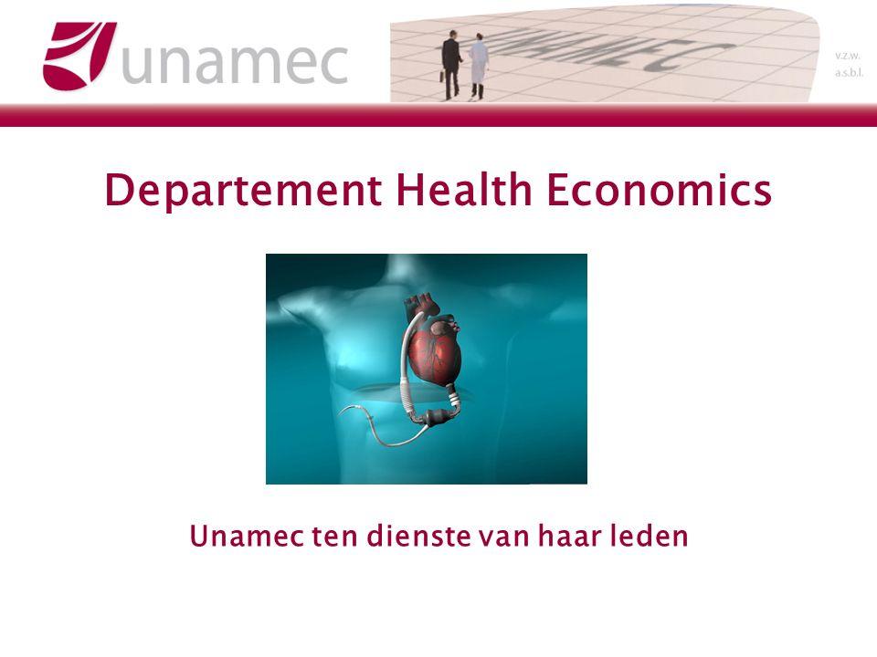 Departement Health Economics Unamec ten dienste van haar leden