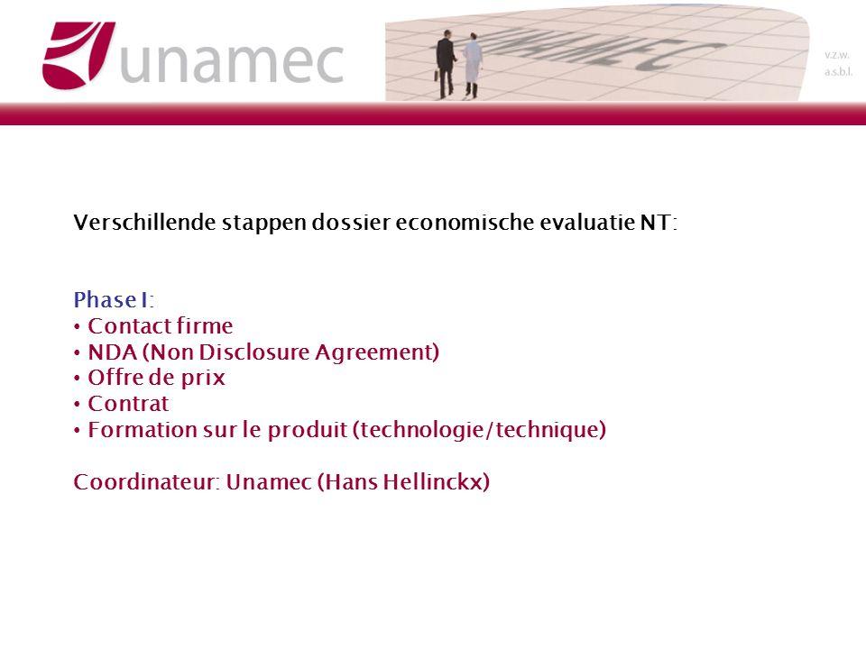 Verschillende stappen dossier economische evaluatie NT: Phase I: Contact firme NDA (Non Disclosure Agreement) Offre de prix Contrat Formation sur le produit (technologie/technique) Coordinateur: Unamec (Hans Hellinckx)
