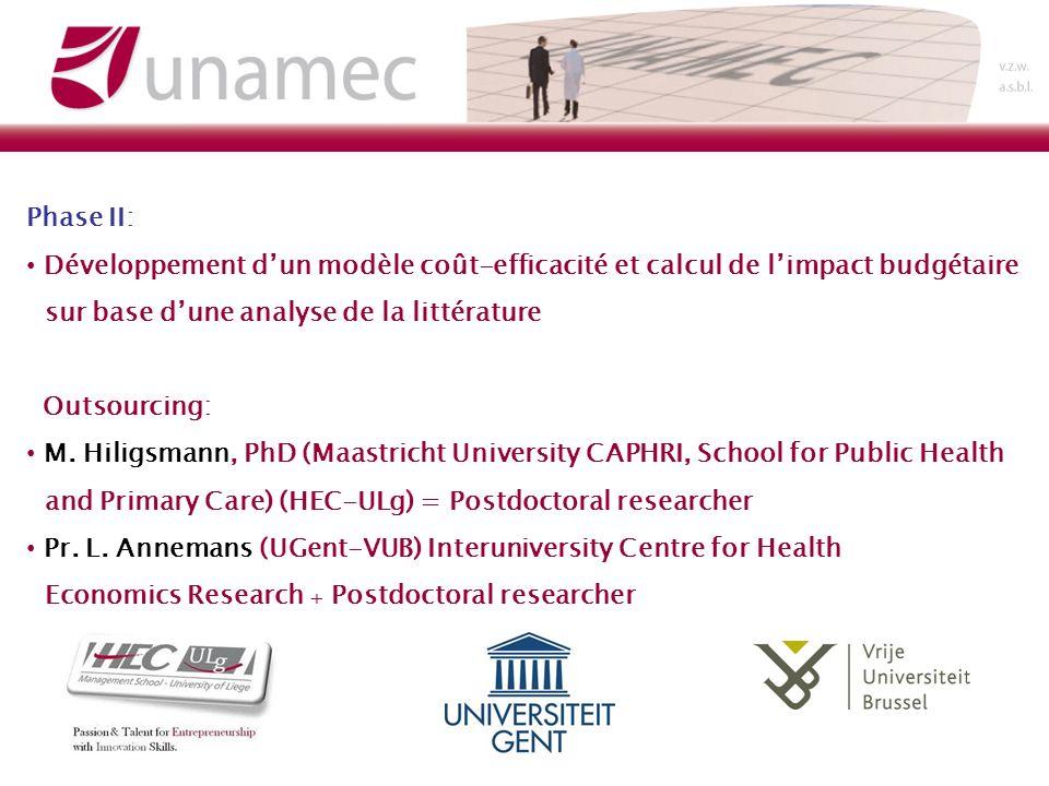 Phase II: Développement dun modèle coût-efficacité et calcul de limpact budgétaire sur base dune analyse de la littérature Outsourcing: M.