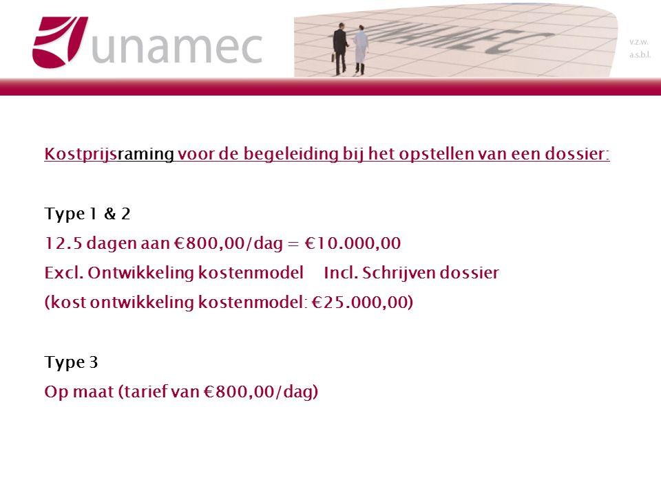 Kostprijsraming voor de begeleiding bij het opstellen van een dossier: Type 1 & 2 12.5 dagen aan 800,00/dag = 10.000,00 Excl.