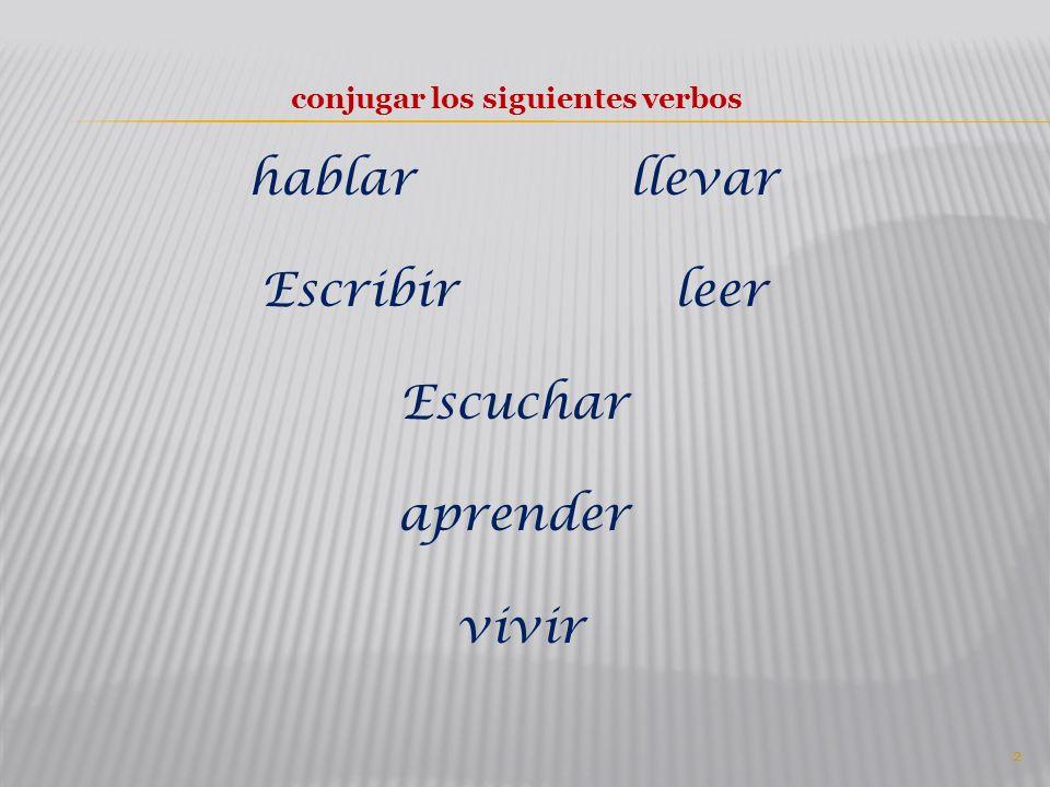 conjugar los siguientes verbos hablar llevar Escribir leer Escuchar aprender vivir 2