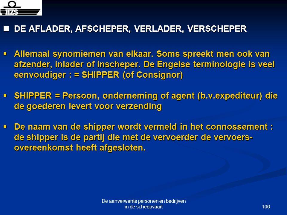 106 De aanverwante personen en bedrijven in de scheepvaart DE AFLADER, AFSCHEPER, VERLADER, VERSCHEPER DE AFLADER, AFSCHEPER, VERLADER, VERSCHEPER All