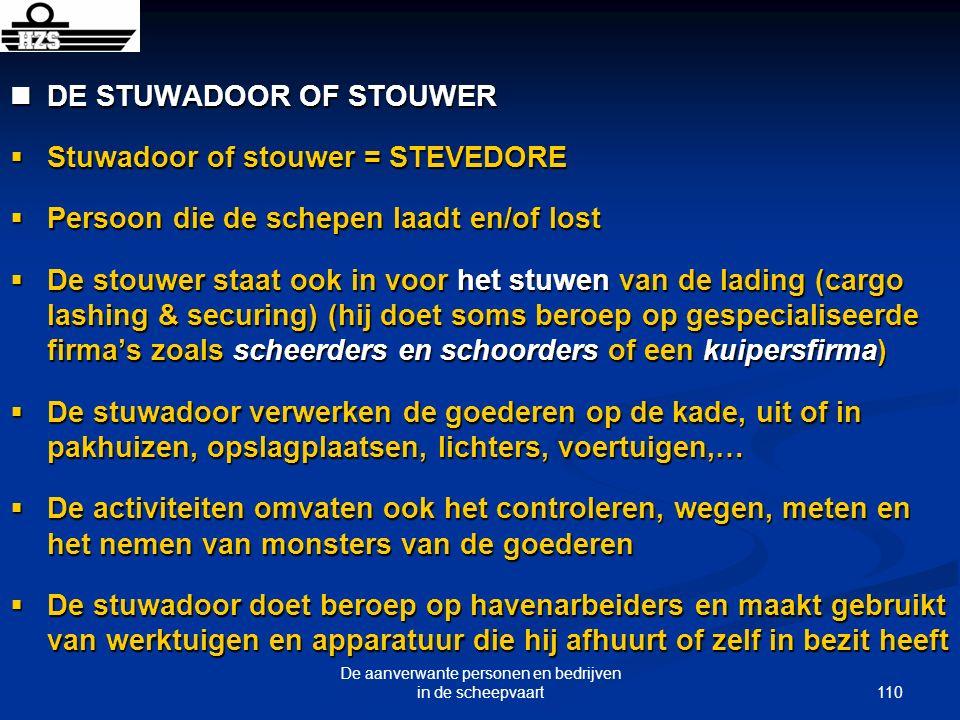110 De aanverwante personen en bedrijven in de scheepvaart DE STUWADOOR OF STOUWER DE STUWADOOR OF STOUWER Stuwadoor of stouwer = STEVEDORE Stuwadoor