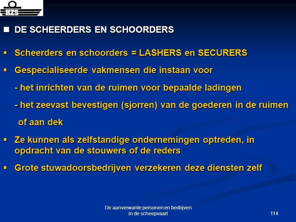 114 De aanverwante personen en bedrijven in de scheepvaart DE SCHEERDERS EN SCHOORDERS DE SCHEERDERS EN SCHOORDERS Scheerders en schoorders = LASHERS