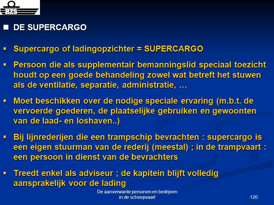 120 De aanverwante personen en bedrijven in de scheepvaart DE SUPERCARGO DE SUPERCARGO Supercargo of ladingopzichter = SUPERCARGO Supercargo of lading