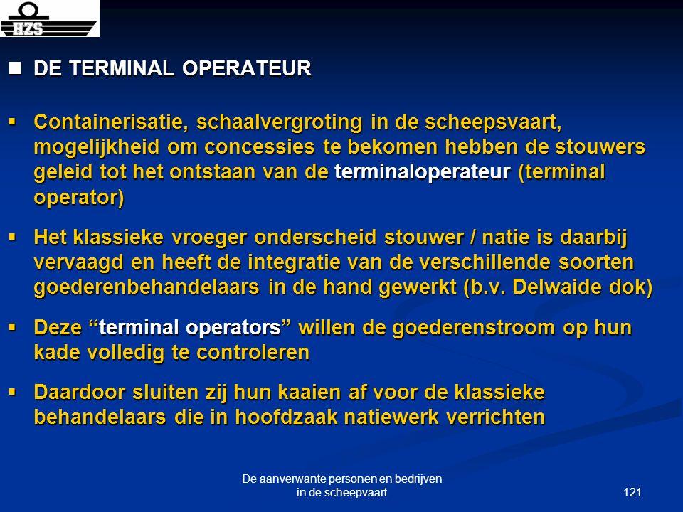 121 De aanverwante personen en bedrijven in de scheepvaart DE TERMINAL OPERATEUR DE TERMINAL OPERATEUR Containerisatie, schaalvergroting in de scheeps