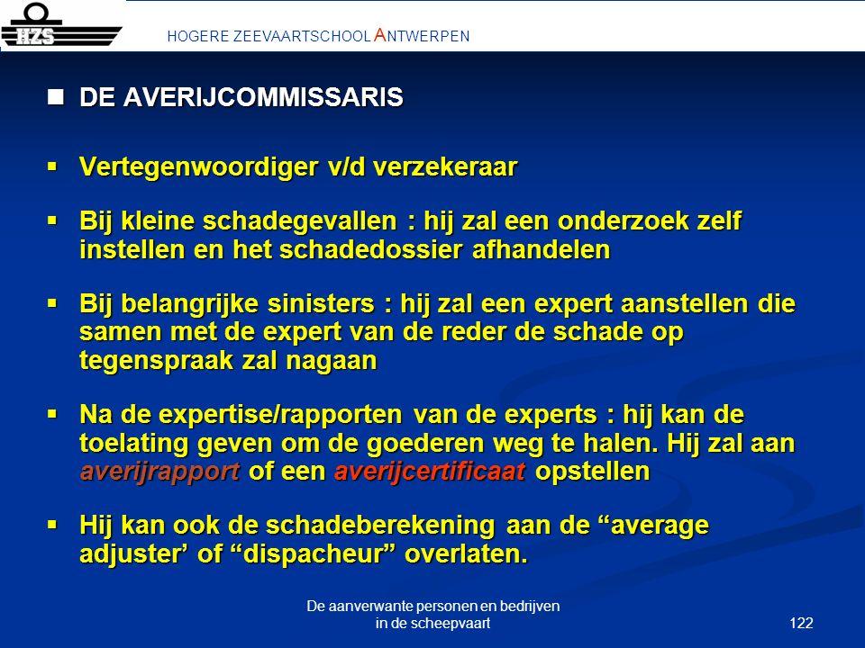 122 De aanverwante personen en bedrijven in de scheepvaart HOGERE ZEEVAARTSCHOOL A NTWERPEN DE AVERIJCOMMISSARIS DE AVERIJCOMMISSARIS Vertegenwoordige