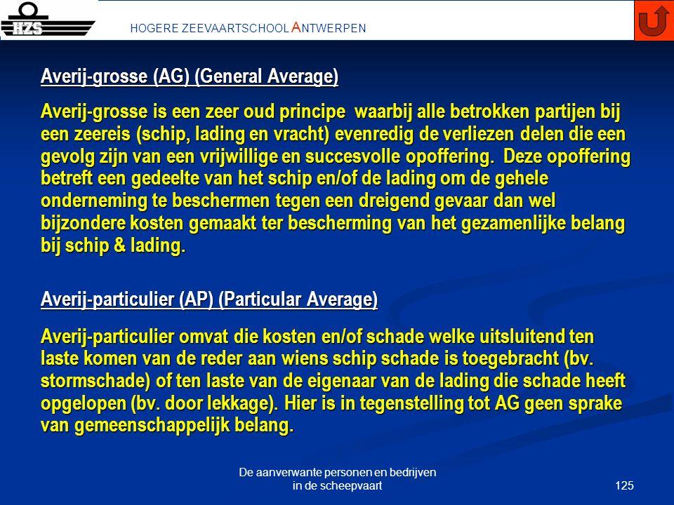 125 De aanverwante personen en bedrijven in de scheepvaart HOGERE ZEEVAARTSCHOOL A NTWERPEN Averij-grosse (AG) (General Average) Averij-grosse is een
