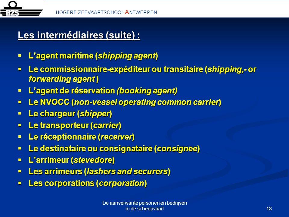 18 De aanverwante personen en bedrijven in de scheepvaart HOGERE ZEEVAARTSCHOOL A NTWERPEN Les intermédiaires (suite) : Lagent maritime (shipping agen
