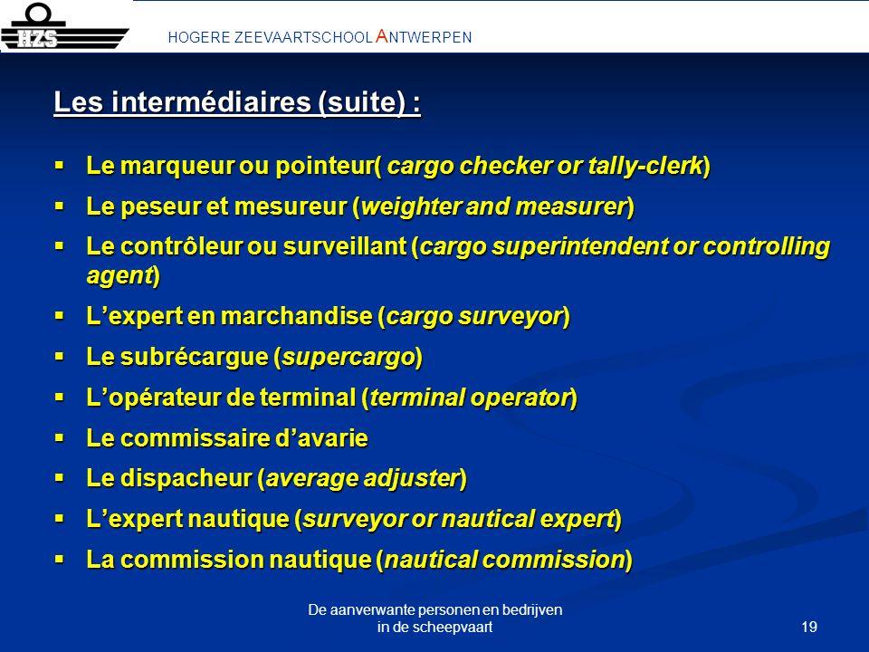 19 De aanverwante personen en bedrijven in de scheepvaart HOGERE ZEEVAARTSCHOOL A NTWERPEN Les intermédiaires (suite) : Le marqueur ou pointeur( cargo