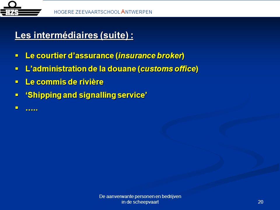 20 De aanverwante personen en bedrijven in de scheepvaart HOGERE ZEEVAARTSCHOOL A NTWERPEN Les intermédiaires (suite) : Le courtier dassurance (insura