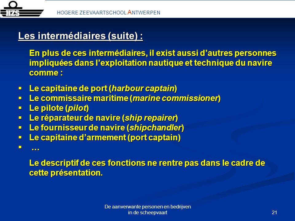 21 De aanverwante personen en bedrijven in de scheepvaart HOGERE ZEEVAARTSCHOOL A NTWERPEN Les intermédiaires (suite) : En plus de ces intermédiaires,