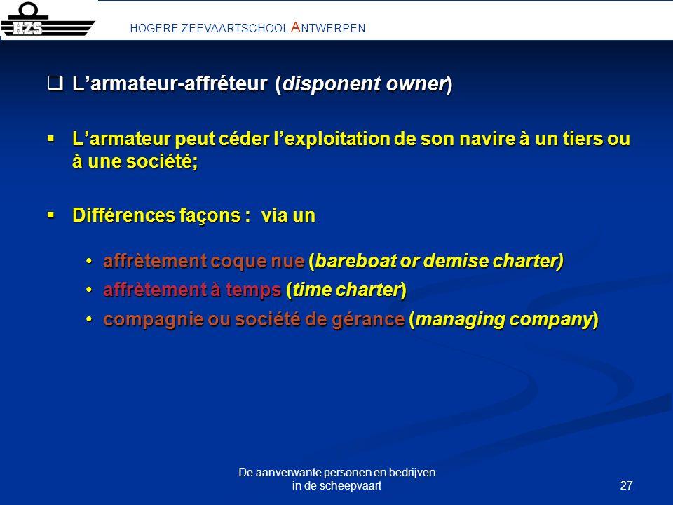 27 De aanverwante personen en bedrijven in de scheepvaart Larmateur-affréteur (disponent owner) Larmateur-affréteur (disponent owner) Larmateur peut c