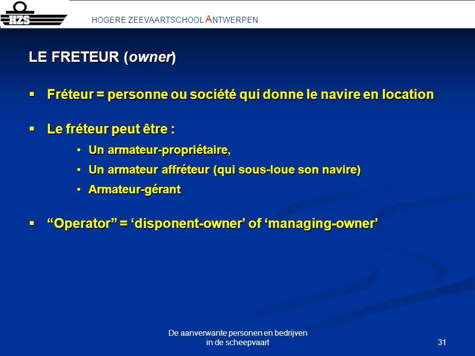 31 De aanverwante personen en bedrijven in de scheepvaart LE FRETEUR (owner) Fréteur = personne ou société qui donne le navire en location Fréteur = p