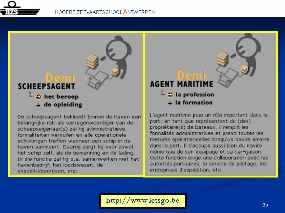 35 De aanverwante personen en bedrijven in de scheepvaart http://www.letsgo.be HOGERE ZEEVAARTSCHOOL A NTWERPEN
