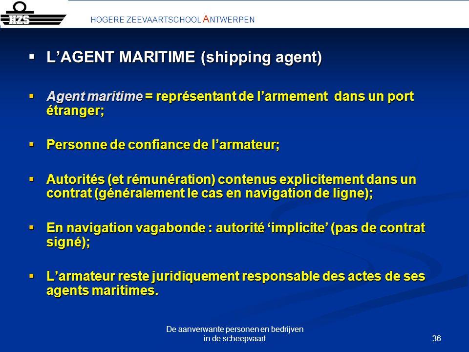 36 De aanverwante personen en bedrijven in de scheepvaart LAGENT MARITIME (shipping agent) LAGENT MARITIME (shipping agent) Agent maritime = représent