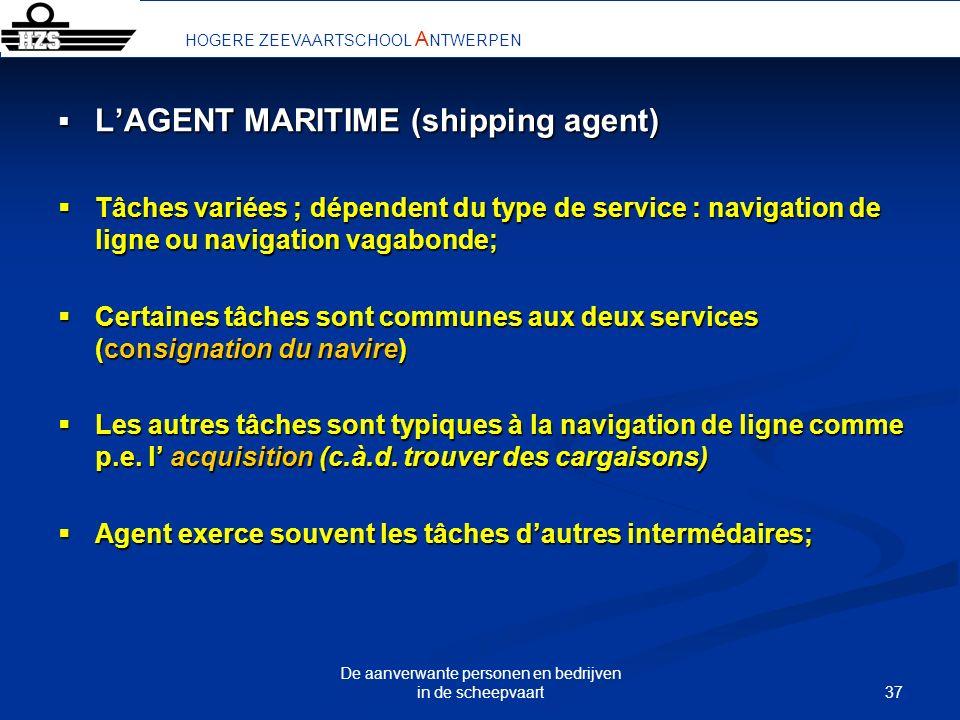 37 De aanverwante personen en bedrijven in de scheepvaart LAGENT MARITIME (shipping agent) LAGENT MARITIME (shipping agent) Tâches variées ; dépendent