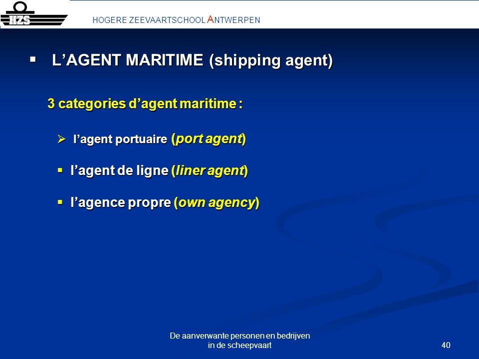 40 De aanverwante personen en bedrijven in de scheepvaart LAGENT MARITIME (shipping agent) LAGENT MARITIME (shipping agent) 3 categories dagent mariti