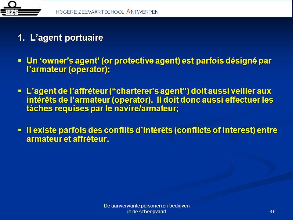 46 De aanverwante personen en bedrijven in de scheepvaart 1. Lagent portuaire Un owners agent (or protective agent) est parfois désigné par larmateur