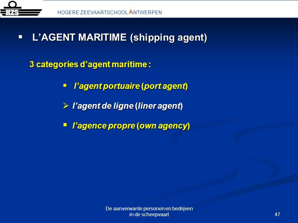 47 De aanverwante personen en bedrijven in de scheepvaart LAGENT MARITIME (shipping agent) LAGENT MARITIME (shipping agent) 3 categories dagent mariti