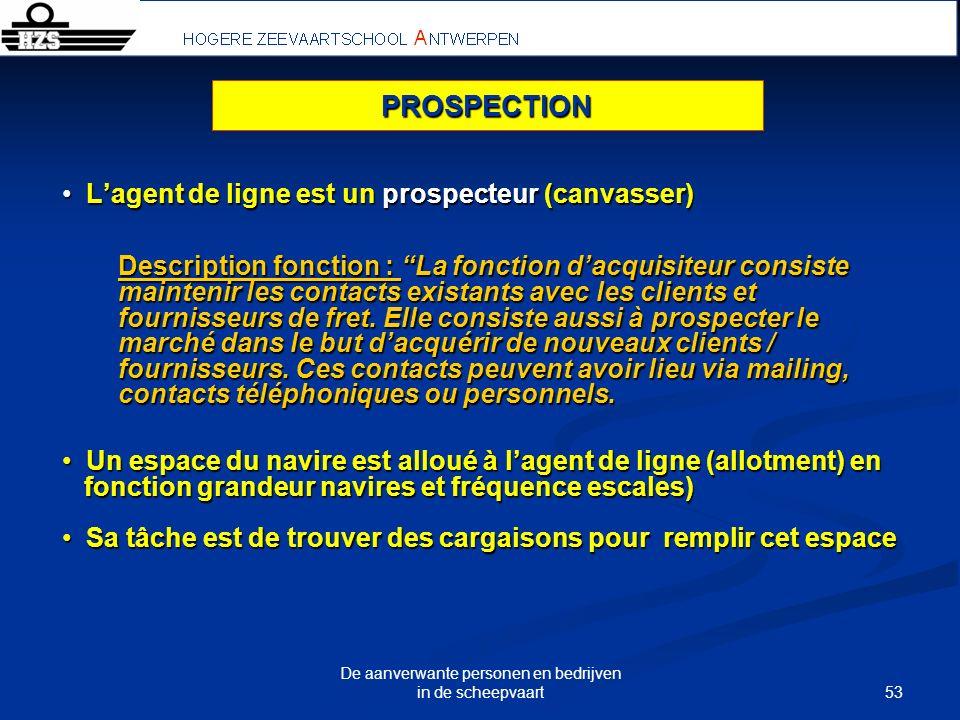 53 De aanverwante personen en bedrijven in de scheepvaart Lagent de ligne est un prospecteur (canvasser) Lagent de ligne est un prospecteur (canvasser