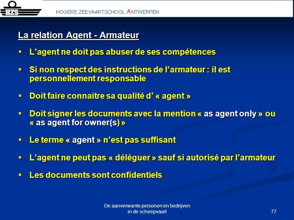 77 De aanverwante personen en bedrijven in de scheepvaart La relation Agent - Armateur Lagent ne doit pas abuser de ses compétences Lagent ne doit pas