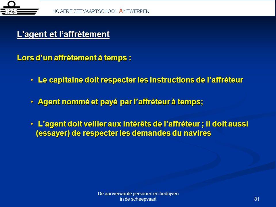 81 De aanverwante personen en bedrijven in de scheepvaart Lagent et laffrètement Lors dun affrètement à temps : Le capitaine doit respecter les instru
