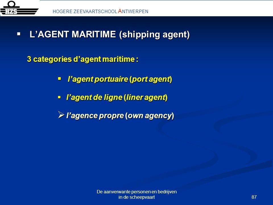 87 De aanverwante personen en bedrijven in de scheepvaart LAGENT MARITIME (shipping agent) LAGENT MARITIME (shipping agent) 3 categories dagent mariti