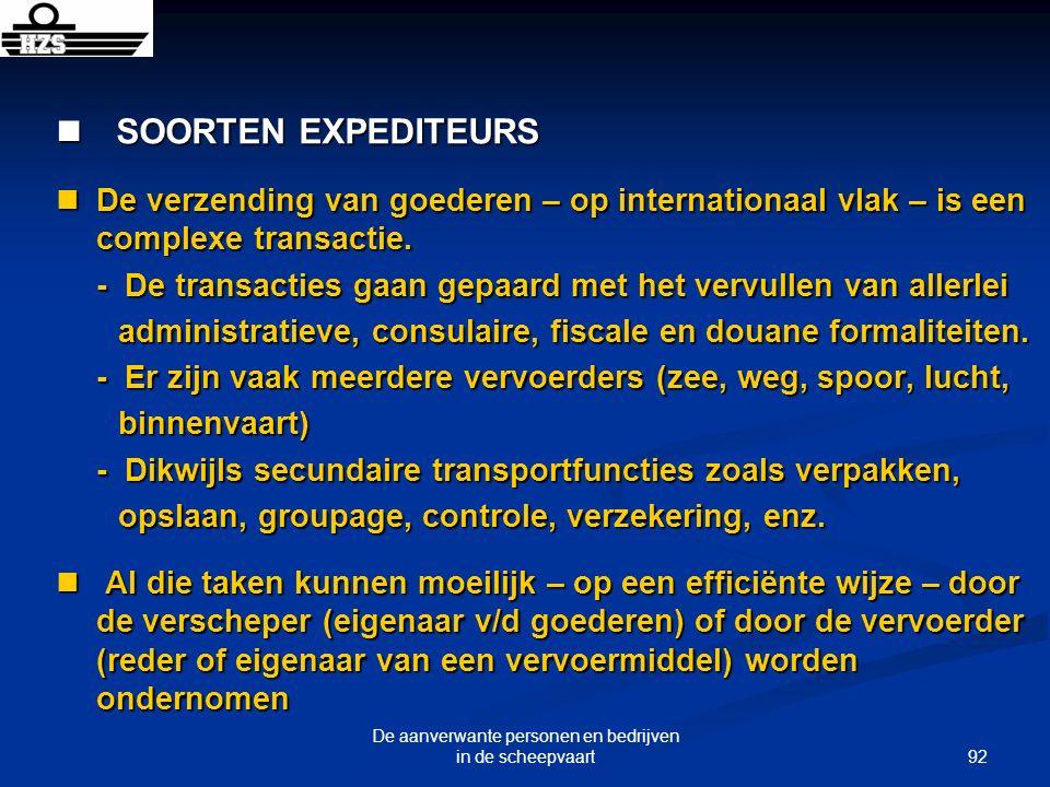 92 De aanverwante personen en bedrijven in de scheepvaart SOORTEN EXPEDITEURS SOORTEN EXPEDITEURS De verzending van goederen – op internationaal vlak