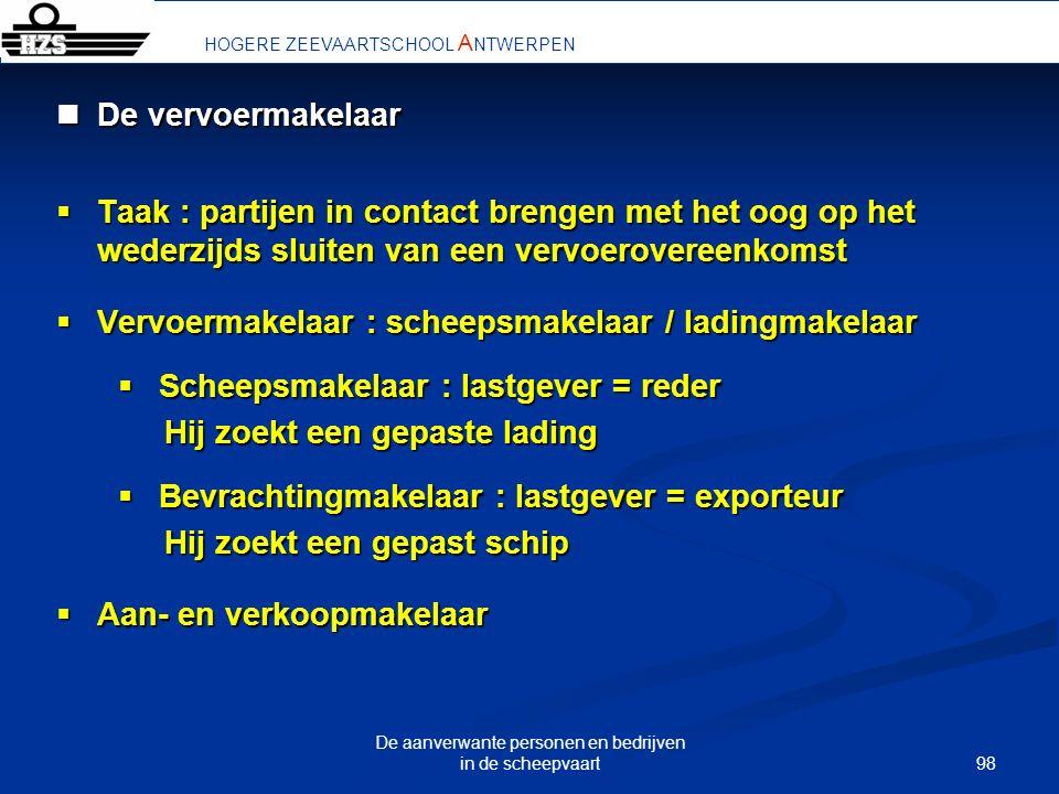 98 De aanverwante personen en bedrijven in de scheepvaart HOGERE ZEEVAARTSCHOOL A NTWERPEN De vervoermakelaar De vervoermakelaar Taak : partijen in co