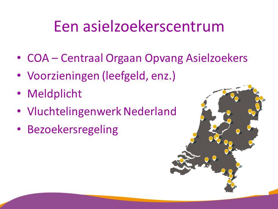 Een asielzoekerscentrum COA – Centraal Orgaan Opvang Asielzoekers Voorzieningen (leefgeld, enz.) Meldplicht Vluchtelingenwerk Nederland Bezoekersregel