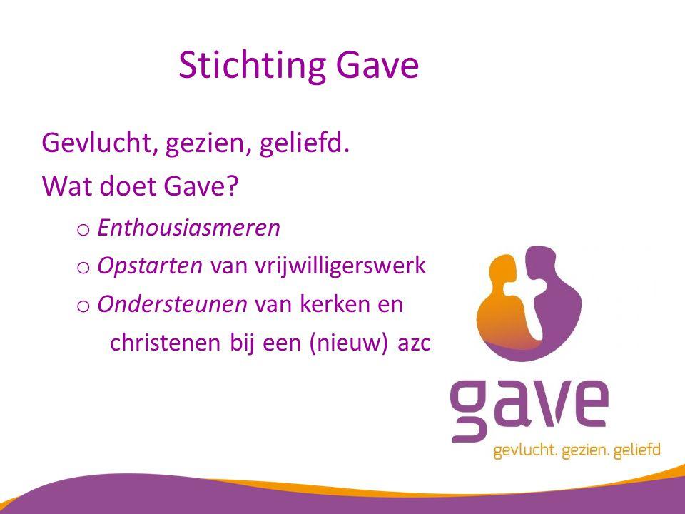 Stichting Gave Gevlucht, gezien, geliefd. Wat doet Gave? o Enthousiasmeren o Opstarten van vrijwilligerswerk o Ondersteunen van kerken en christenen b