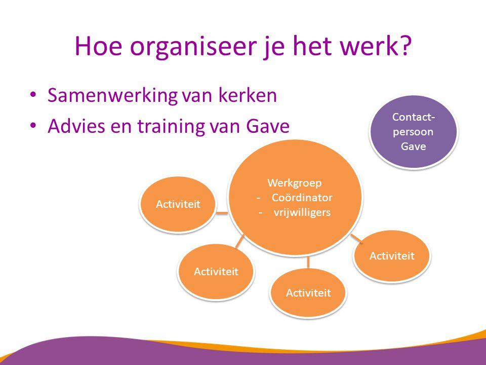 Hoe organiseer je het werk? Samenwerking van kerken Advies en training van Gave Contact- persoon Gave Activiteit Werkgroep -Coördinator -vrijwilligers