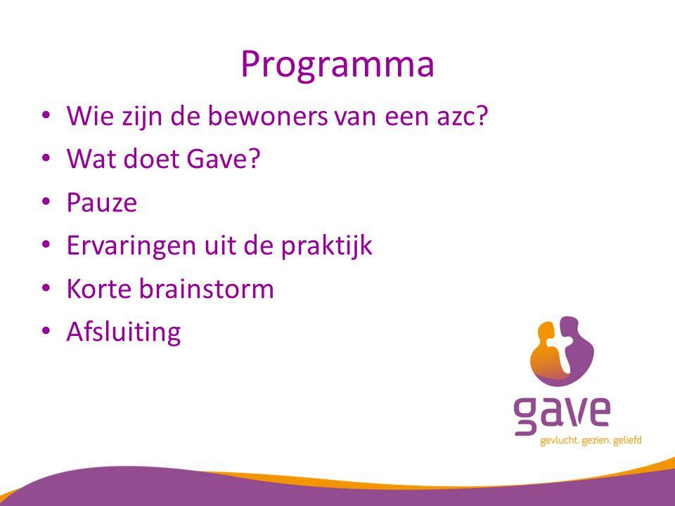 Programma Wie zijn de bewoners van een azc. Wat doet Gave.
