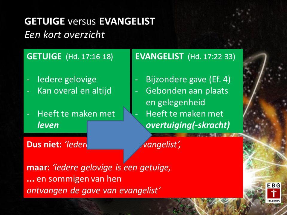 GETUIGE versus EVANGELIST Een kort overzicht GETUIGE (Hd.