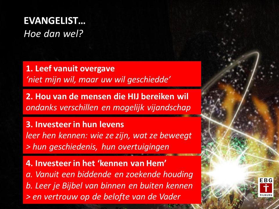 EVANGELIST… Hoe dan wel. 1. Leef vanuit overgave 'niet mijn wil, maar uw wil geschiedde' 2.