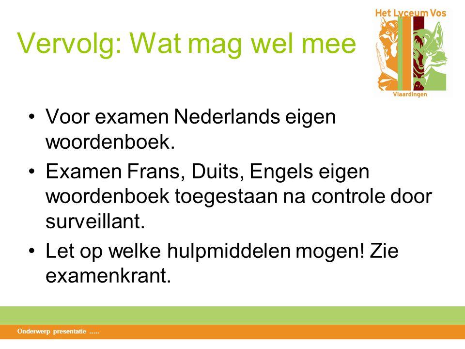 Vervolg: Wat mag wel mee Voor examen Nederlands eigen woordenboek.