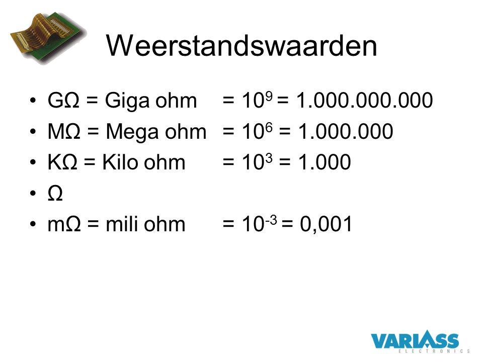 Weerstandswaarden GΩ = Giga ohm = 10 9 = 1.000.000.000 MΩ = Mega ohm = 10 6 = 1.000.000 KΩ = Kilo ohm= 10 3 = 1.000 Ω mΩ = mili ohm= 10 -3 = 0,001