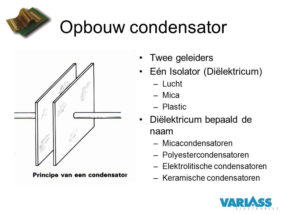 Opbouw condensator Twee geleiders Eén Isolator (Diëlektricum) –Lucht –Mica –Plastic Diëlektricum bepaald de naam –Micacondensatoren –Polyestercondensa