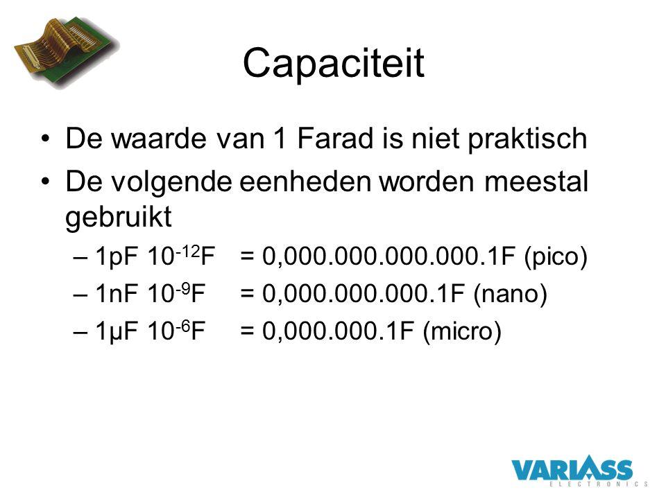 Capaciteit De waarde van 1 Farad is niet praktisch De volgende eenheden worden meestal gebruikt –1pF 10 -12 F= 0,000.000.000.000.1F (pico) –1nF 10 -9