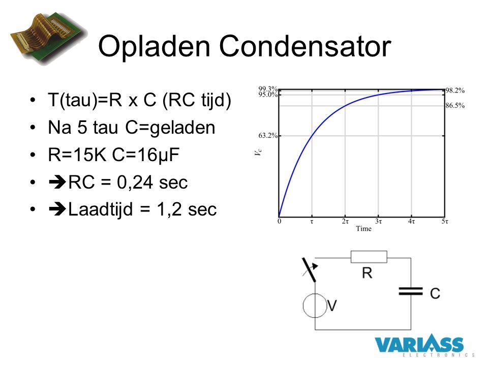 Opladen Condensator Τ(tau)=R x C (RC tijd) Na 5 tau C=geladen R=15K C=16µF  RC = 0,24 sec  Laadtijd = 1,2 sec