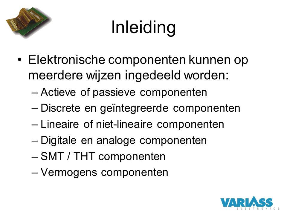 Inleiding Elektronische componenten kunnen op meerdere wijzen ingedeeld worden: –Actieve of passieve componenten –Discrete en geïntegreerde componente