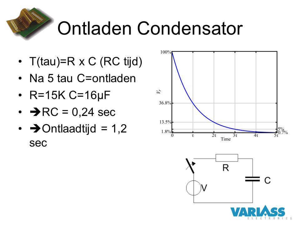 Ontladen Condensator Τ(tau)=R x C (RC tijd) Na 5 tau C=ontladen R=15K C=16µF  RC = 0,24 sec  Ontlaadtijd = 1,2 sec