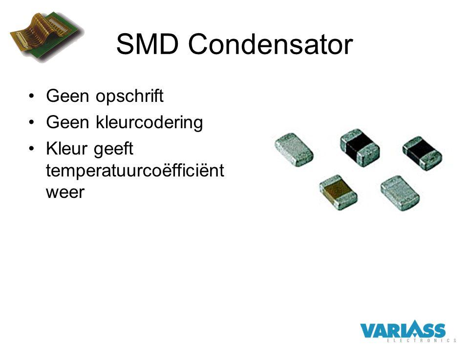 SMD Condensator Geen opschrift Geen kleurcodering Kleur geeft temperatuurcoëfficiënt weer