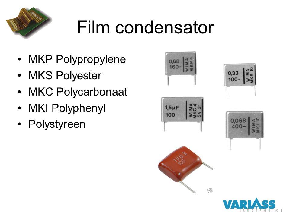 Film condensator MKP Polypropylene MKS Polyester MKC Polycarbonaat MKI Polyphenyl Polystyreen