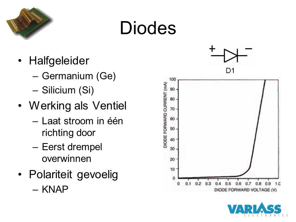 Diodes Halfgeleider –Germanium (Ge) –Silicium (Si) Werking als Ventiel –Laat stroom in één richting door –Eerst drempel overwinnen Polariteit gevoelig