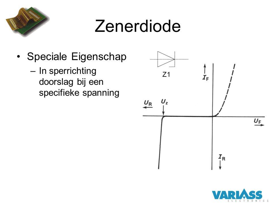 Zenerdiode Speciale Eigenschap –In sperrichting doorslag bij een specifieke spanning Z1