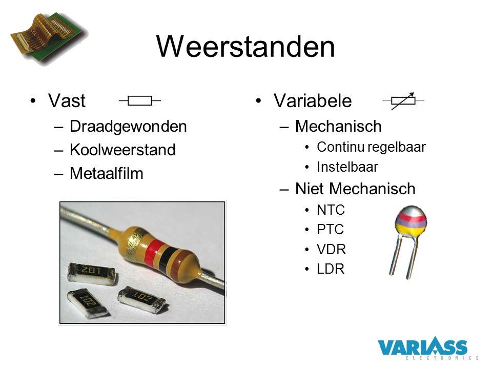 Weerstanden Vast –Draadgewonden –Koolweerstand –Metaalfilm Variabele –Mechanisch Continu regelbaar Instelbaar –Niet Mechanisch NTC PTC VDR LDR