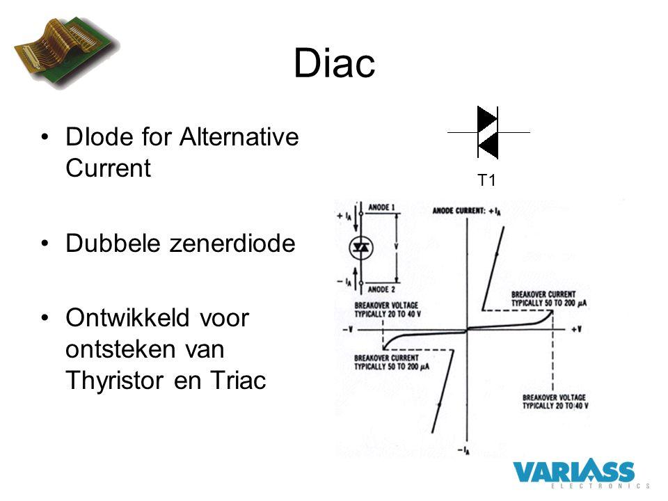 Diac DIode for Alternative Current Dubbele zenerdiode Ontwikkeld voor ontsteken van Thyristor en Triac T1