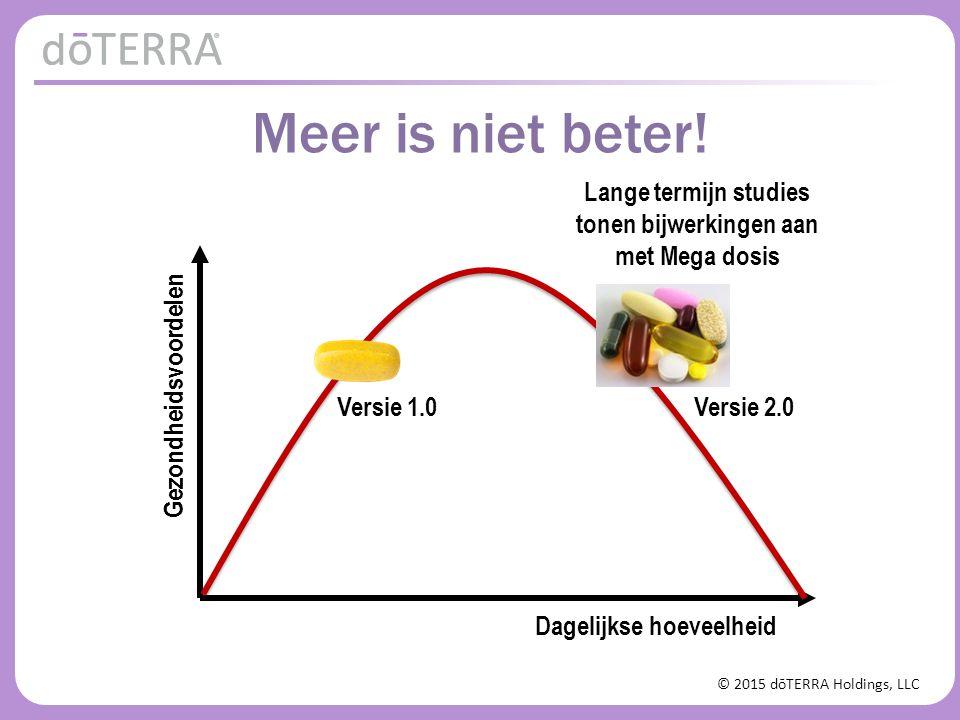© 2015 dōTERRA Holdings, LLC Gezondheidsvoordelen Lange termijn studies tonen bijwerkingen aan met Mega dosis Versie 1.0 Versie 2.0 Meer is niet beter